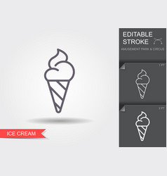 ice cream cone line icon with editable stroke vector image
