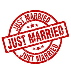Just married round red grunge stamp vector