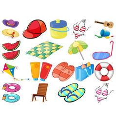 Large set different summber items on white vector