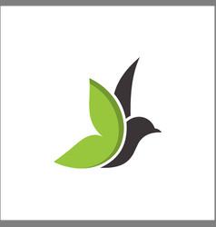 leaf bird logo animal bird logodove logo vector image