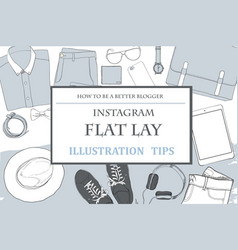 Llustration of hand drawn doodle flat lay vector
