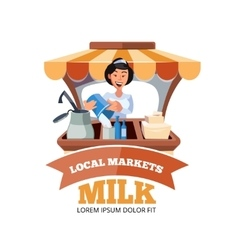 Local market farmer selling vegetables vector