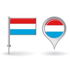 Luxembourg pin icon and map pointer flag vector