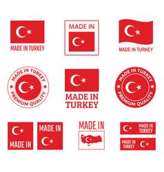 made in turkey labels set republic turkey vector image