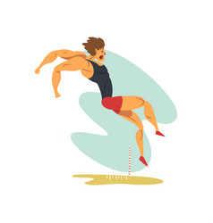 Male athlete doing long jump professional vector