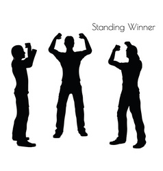 Man in Standing Winner pose on white background vector