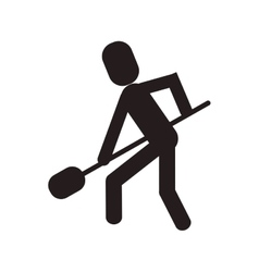 Man shovel digging work construction vector