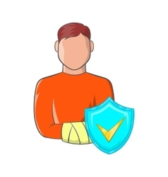 Man with broken arm and sky blue shield icon vector