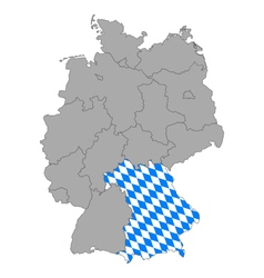Map of Germany with flag of Bavaria vector image