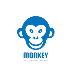 Monkey head smile - logo template concept vector