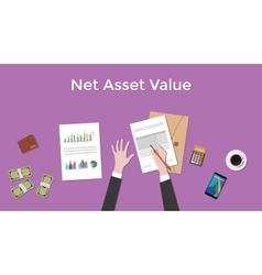 net asset value nav with business man vector image