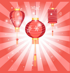 New years bright postcard with chinese lanterns vector