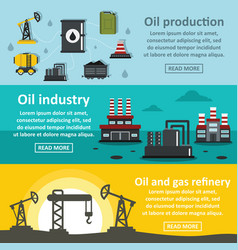 Oil rig industry banner horizontal set flat style vector