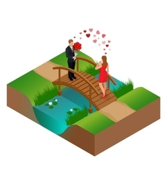 Pair of lovers on bridge Romantic couple in love vector
