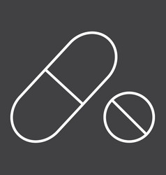 pills line icon medicine and healthcare vector image