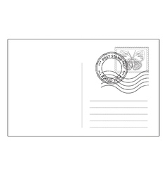 Postcard reverse side with postal stamps vector