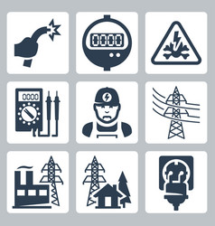 Power industry icons set bared wire supply meter vector