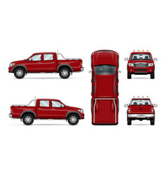 Red pickup truck vector