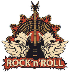 rock and roll banner with guitar wings speaker vector image