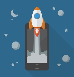 Rocket launching from smartphone vector image