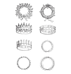 Roman Crowns vintage engraving vector