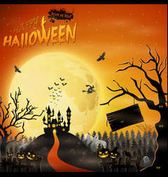 scary castle with pumpkin on graveyard vector image