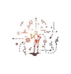 scheme machine robot technology android vector image