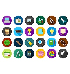 School elements round icons set vector image