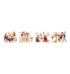 set family members at baby shower parties vector image