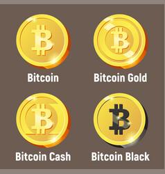 set of bitcoin logo coins vector image