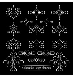 Set of white calligraphic elements for your design vector image