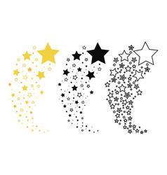 Set shooting stars collection stars vector