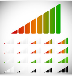 Signal strength progress or level indicators vector
