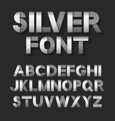 silver metallic font set vector image