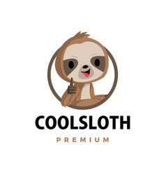 Sloth thumb up mascot character logo icon vector