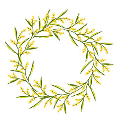 spring wreath with mimosa flower vector image