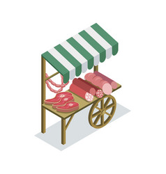 street vendor booth isometric 3d icon vector image