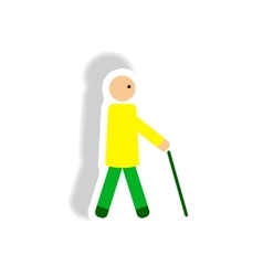 Stylish icon in paper sticker style man with stick vector