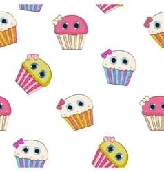 Sweet Tasty Cupcake Seamless Pattern vector image