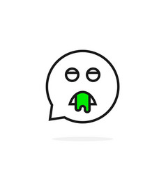 thin line puke emoji speech bubble logo vector image