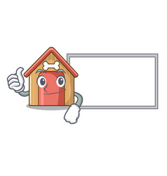 Thumbs up with board cartoon funny dog house with vector
