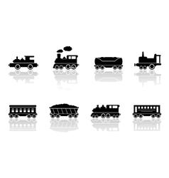 trains and railroad wagons set vector image vector image