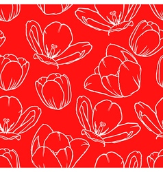 tulip contour pattern red vector image