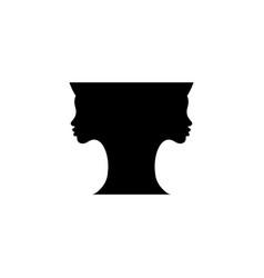 two women black silhouette faces making vase shape vector image
