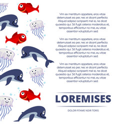 wild sea animals poster design - background with vector image
