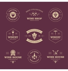 Wine labels on dark background vector image