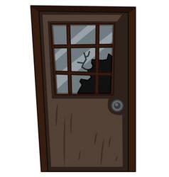 Wooden door with broken window vector