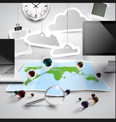 World map in 3d with office tools cloudy vector
