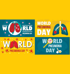 world pneumonia day banner set flat style vector image