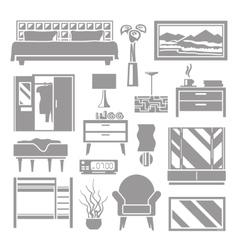 Bedroom Furniture Grey Set vector image